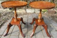 Pair Oval Pedestal Mahogany Coffee Tables by Reprodux